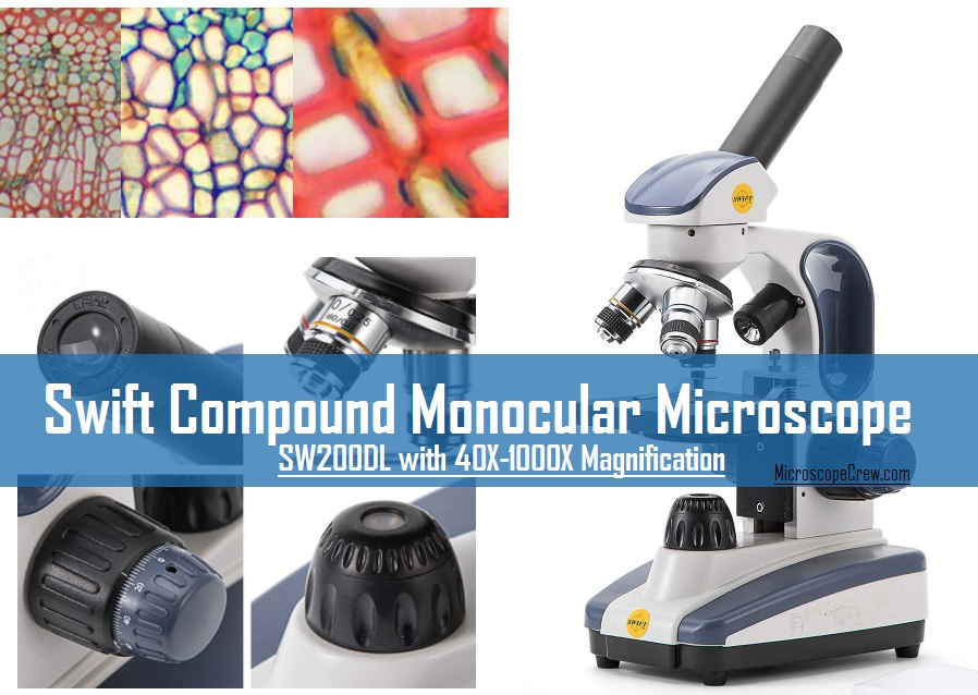 Swift Compound Monocular Microscope SW200DL with 40X-1000X Magnification under 100