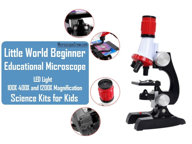 Little World Science Kits for Kids Beginner Microscope Kit with LED 100X 400X and 1200X Magnification