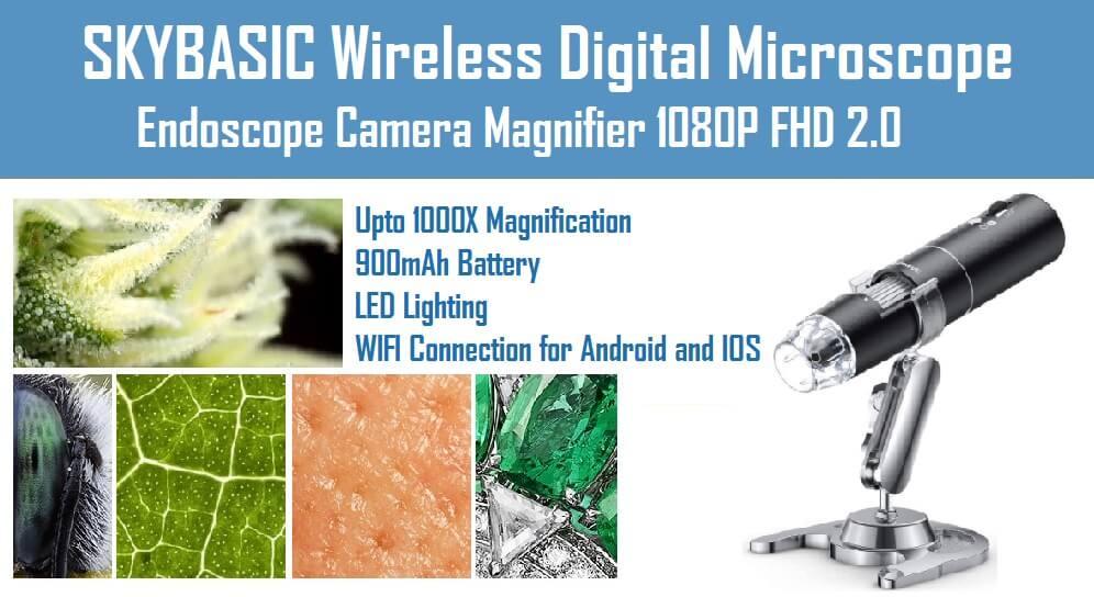 Endoscope Camera Magnifier 1080P FHD 2.0 Skybasic Wireless digital microscope