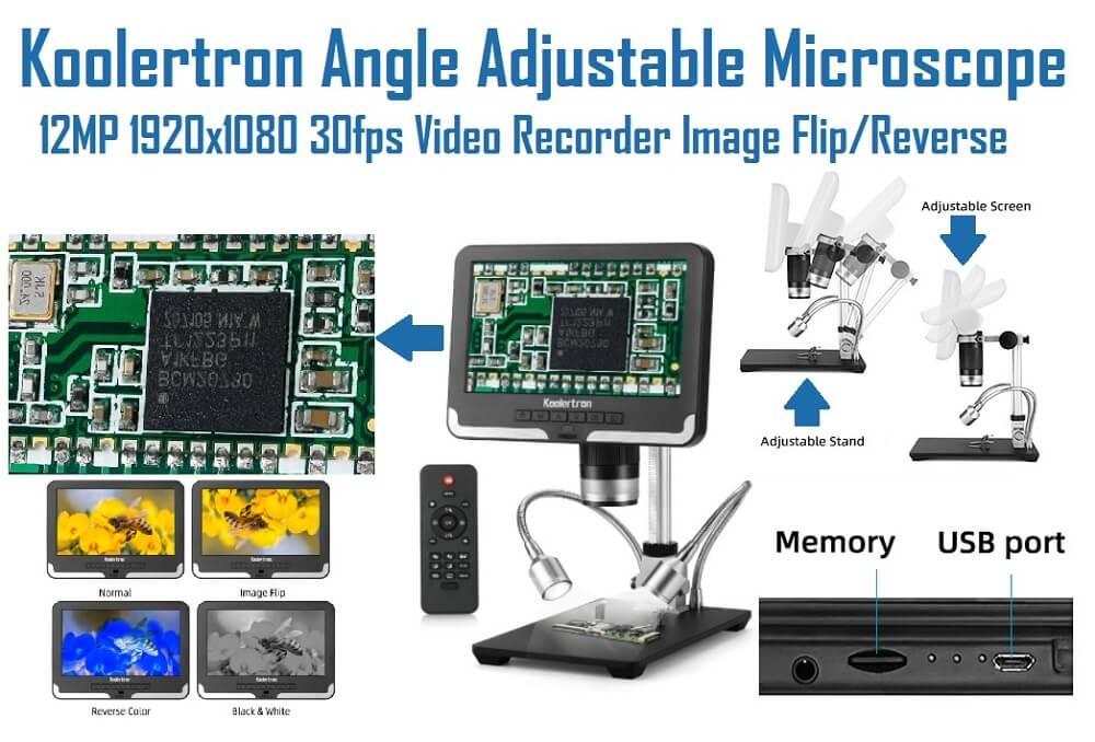 Koolertron 12MP 1920x1080 30fps Video Recorder Microscope