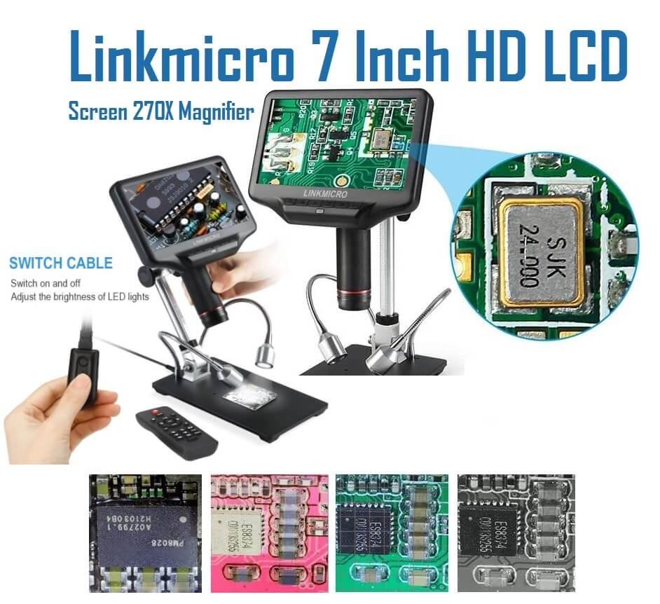 Linkmicro 7 Inch HD LCD Screen 270X Magnifier Microscope for electric repair