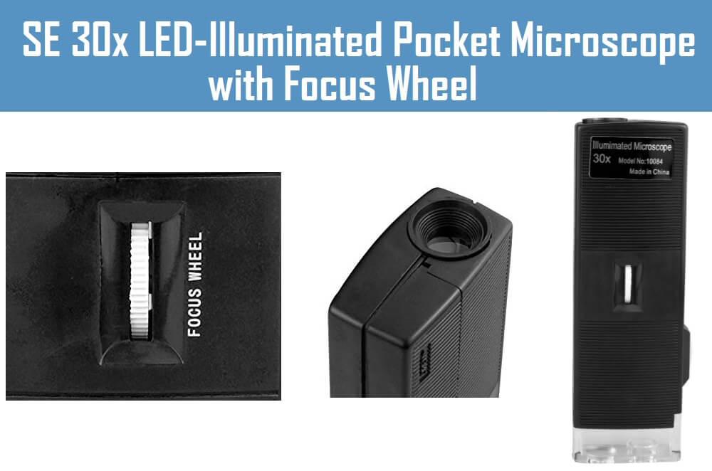 SE 30x LED-Illuminated Pocket Microscope with Focus Wheel